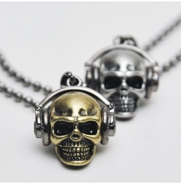 Street Edge Funky Skull Headset Necklace