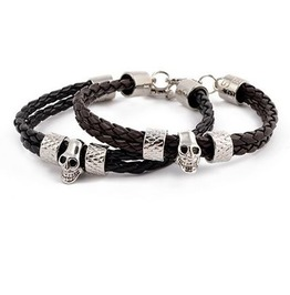 Double Braided Leather Stainless Steel Skull Bracelet