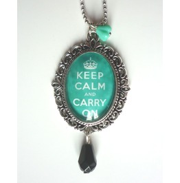 Keep Calm Mint Green Necklace Tattoo Rockabilly Pin Up Crown