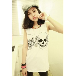 Peek Boo Skulls Black/White Graphic Summer Tank Top