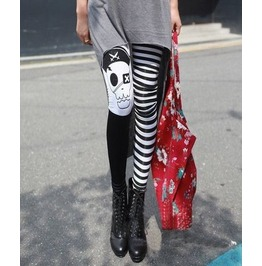 Punk Pirate Skull Black/White Striped Stretchy Leggings
