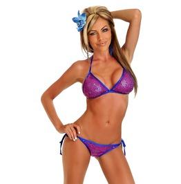 Bikini Set Daisy Corsets Fuchsia Sequin Pucker Back Bikini