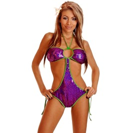 Swimsuit Daisy Corsets Purple Sequin Pucker Back Monokini