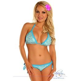 Bikini Set Daisy Corsets Lt Blue Sequin Pucker Back Bikini
