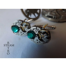 10% Code:Xmas14 Mens Gift Boxed Emerald Cufflinks Steampunk Cufflinks Steampunk Accessories Wedding Cufflinks Cufflinks Best Man Gifts