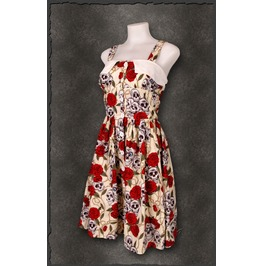 Skull & Roses Rockabella Red Rose Pin Woman's Rockabilly Pinup Dress 60s