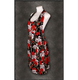 Rockabilly Sexy Pinup Summer Black Rose Women's Dress