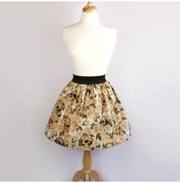 """""""Lindy"""" Skulls Roses Pinup Beige Skirt"""