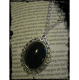 Antique Silver Necklace Black Stone