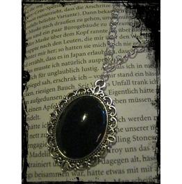 Antique Silver Necklace Black Stone