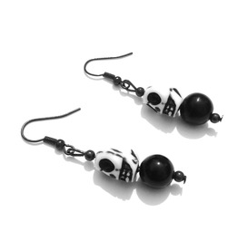 Awesome Handcrafted Designer White Skull Head Design Earrings Black Bead