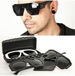 Modish Uber Cool Stud Accent Sized Sunglasses (Black)