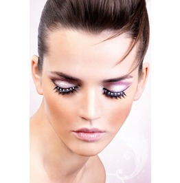 Eyelashes Baci Black White Rhinestone Eyelashes Be516