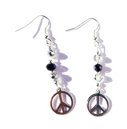 Handcrafted Designer Cnd Peace Design Earrings Swarovski Crystal Beads
