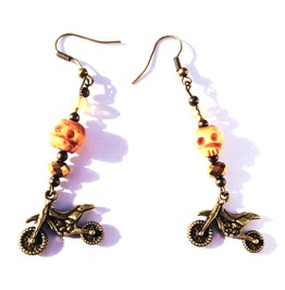 Cool! Trail Bike Design Earrings Skull Swarovski Crystals
