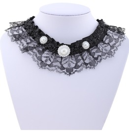 Victorian Black Lace Collar W/ Half Pearls