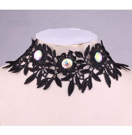 Victorian Black Lace Collar W/ Iridescent Crystals