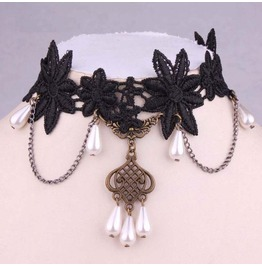 Victorian Black Lace Collar W/ White Pearls