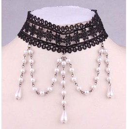 Victorian Black Lace Collar W/ White Pearls