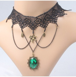 Victorian Black Lace Collar W/ Emerald Crystal