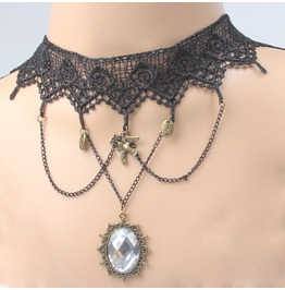 Victorian Black Lace Collar W. Clear Crystal