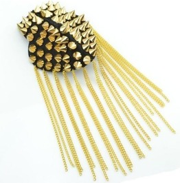 Vintage Gothic Design Multi Tassel Gold Spike Rivet Epaulet Shoulder Pin