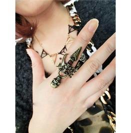 Skeleton & Dagger Finger Ring Bronze