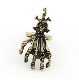 Antique Bronze Skeleton Hand Ring Unisex
