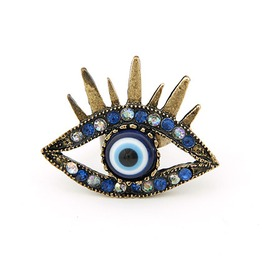 Bronze Evil Eye Ring W/ Crystals Unisex