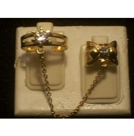 The Fashion Finger Nail Ring, Chain & Tip Gold Rt 09 G