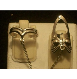 The Fashion Finger Nail Ring, Chain & Tip Silver Rt 13 S