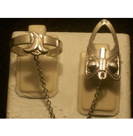 The Fashion Finger Nail Ring, Chain & Tip Silver Rt 14 S