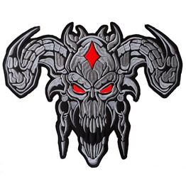Devil (Grey) Large Back Patch 12 1/4 X 9 3/4 Inch