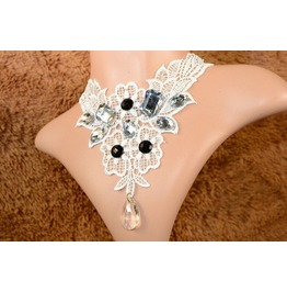 Victorian White Lace Collar W/ Black Onyx & Crystals