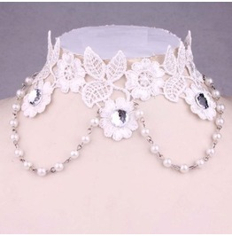 Victorian White Lace Collar W/ White Pearls & Clear Crystals