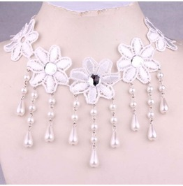 Victorian White Lace Collar W/ White Pearls & Clear Crystal