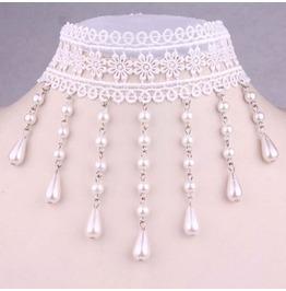 Victorian White Lace Collar W/ White Pearls Lc 131