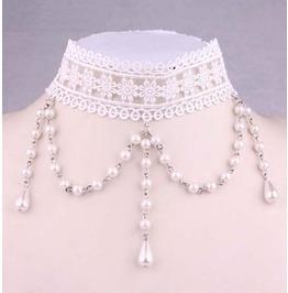 Victorian White Lace Collar W/ White Pearls