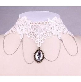 Victorian White Lace Collar W/ Clear Crystal
