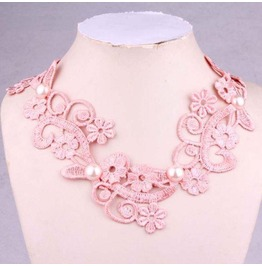 Victorian Pink Lace Collar W/ White Half Pearls