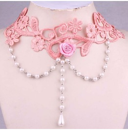 Victorian Pink Lace Collar W/ White Round & Tear Drop Pearls