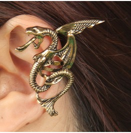 Wicked Flying Dragon Ear Cuff Silver Ec 73045 Sl