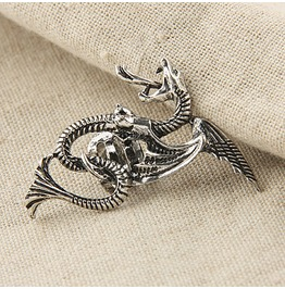 Wicked Flying Dragon Ear Cuff Silver