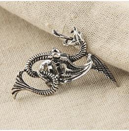 Wicked Flying Dragon Ear Cuff Silver