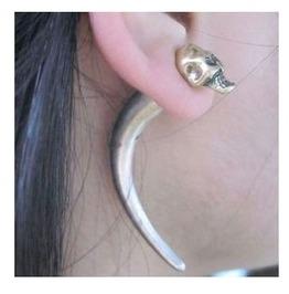 Antique Skull Ear Cuff Silver & Gold