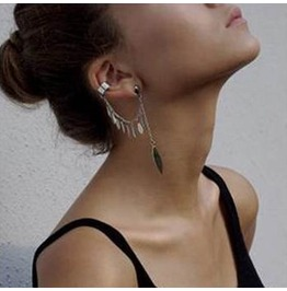Leaf Ear Cuff Dangle Silver Ec 3409 Sl