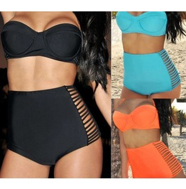 Retro Push Black/Blue/Orange High Waist Triangle Top Bikini Swimsuit