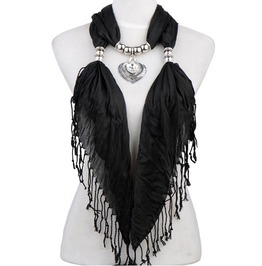 Plain Color Tassel Scarf Ornate Pendant