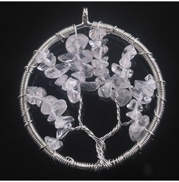 Pretty Rock Quartz Gemstone Bead Wirewrap Circle Tree Life Pendant
