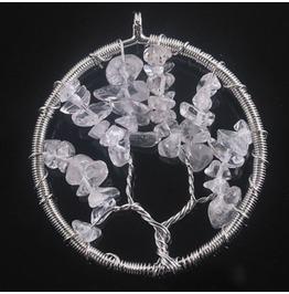 Pretty Rock Quartz Gemstone Bead Wirewrap Circle Tree Life Pendant